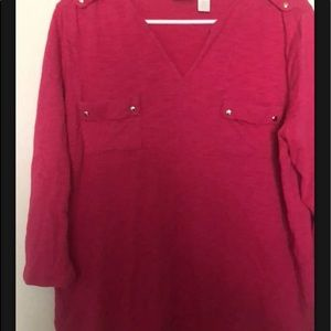 Chicos Womens Long Sleeved Button Front Top